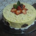 Torta sabayón de queso y fresas
